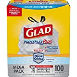 Glad 70427 ForceFlex Tall Kitchen Drawstring Bags, 13 gal, .90mil, 24×25 1/8 White (Box of 100)