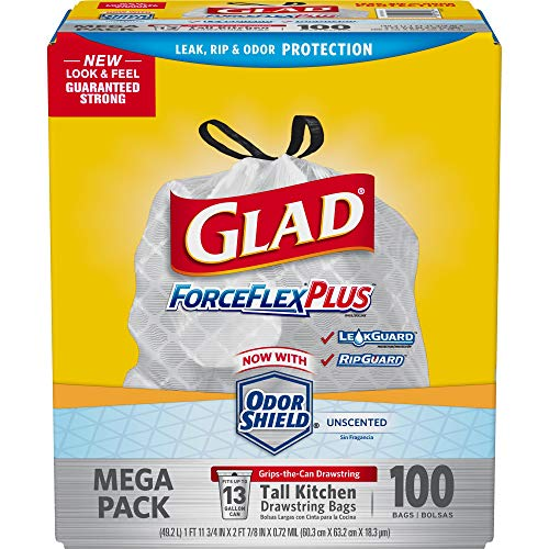 Glad ForceFlexPlus Tall Kitchen Drawstring Trash Bags - Unscented -13 Gallon - 100 Count ()