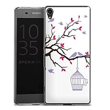 Sony Xperia XA móvil Case Funda Móvil jaula de pájaro pastel ...