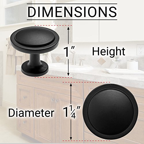 26 Beautiful Cabinet knobs Flat Black (26) Pack - Round Solid Metal knobs - Free Hardware Screws for Doors and Drawers - 1-1/4'' Diameter by MP (Image #1)