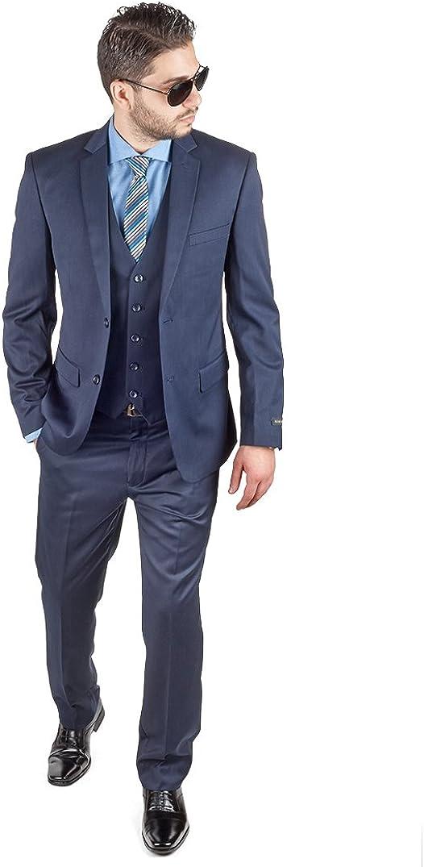AZAR MAN Slim Fit 3 Piece Vest Navy Blue Suit 2 Button Notch Lapel