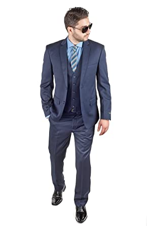 Slim Fit 3 Piece Vest Navy Blue Suit 2 Button Notch Lapel By Azar ...