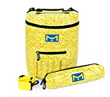 Mira HandCrafts Large Knitting Bag for Ultimate Yarn Storage | Yarn Caddy with Multiple Pockets, Slits on Top and 1 Extra Yarn Organizer for Your Knitting Accessories(Yellow)