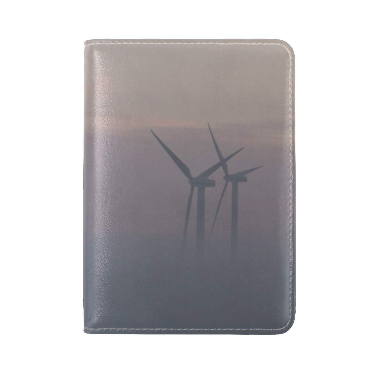 Windmills Fog Field Leather Passport Holder Cover Case Travel One Pocket