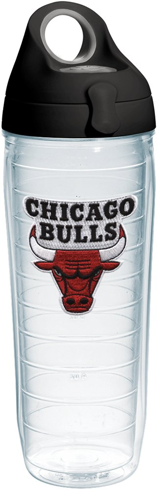 Tervis 1231047 NBA Chicago Bulls Primary Logo Tumbler with Emblem and Black with Gray Lid 24oz Water Bottle, Clear by Tervis