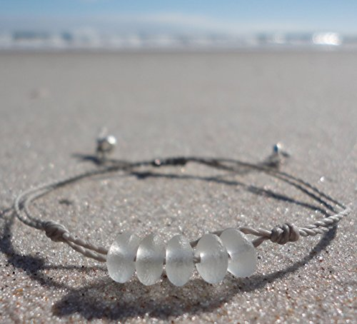 Sea Glass Bead Bracelet-Adjustable Waterproof Wax Coated Bangle-Gray Thread-Handmade Bracelet with White Beads