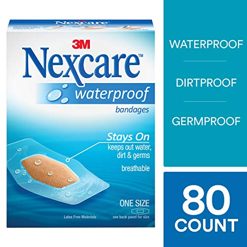 (Nexcare Waterproof Clear Bandages, Stays On In Water, 20 Count Packages (Pack of 4))