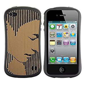 Fuerte Suave TPU GEL Caso Carcasa de Protección Funda para Apple Iphone 4 / 4S / Business Style Portrait Man Stripes Art