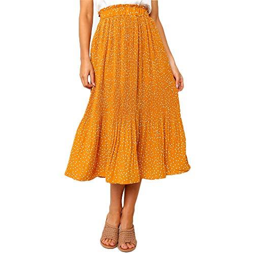 Exlura Womens High Waist Polka Dot Pleated Skirt Midi Swing Skirt with Pockets Mustard Yellow