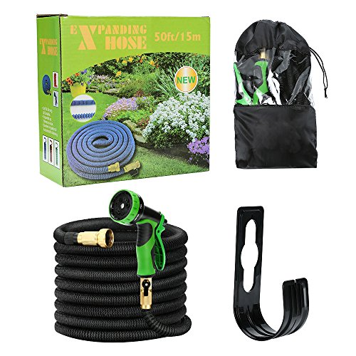 Kugoplay 50 Feet Expandable Garden Hose 9 Patterns Hose Nozzle - Pressure Expanding Water Hose with Leakproof Solid Brass Fittings, Flexible Expandable Hose Double Latex Core Extra Strength Fabric