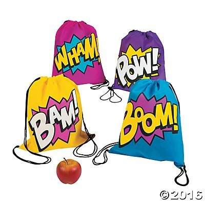 Fun Express Superhero Girl Drawstring Backpacks Bags - 24 Bags