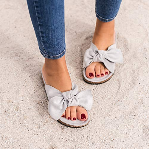 Sommer Hochwertiger Pantoletten Wildlederoptik Grau Sandalen Mit In Damen Schleife zxYwaPxq