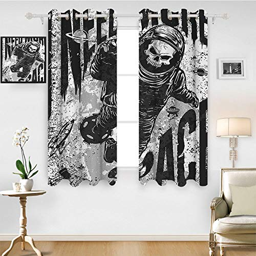 SATVSHOP Top and Bottom Curtains - 55W x 63L Inch-Blackout Draperies for Bedroom Living Room.Outer Space Skull in Spaceman Suit Over Grunge Background Dead Spooky Halloween Theme Grey Black.]()