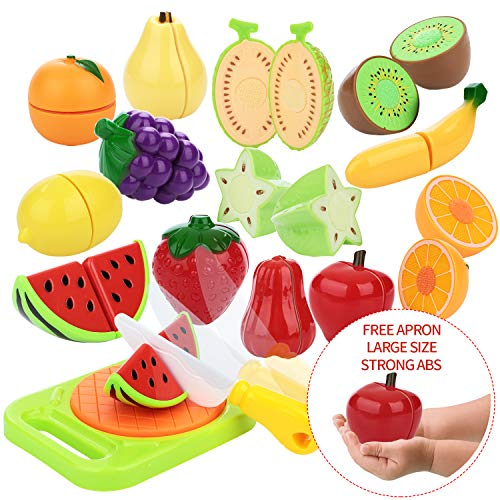Peradix Play Food Cutting Fruit Larger Size Set For Kids Pretend Role Play - Plastic Toy Food Kitchen Accessory (with Sticker & Apron)
