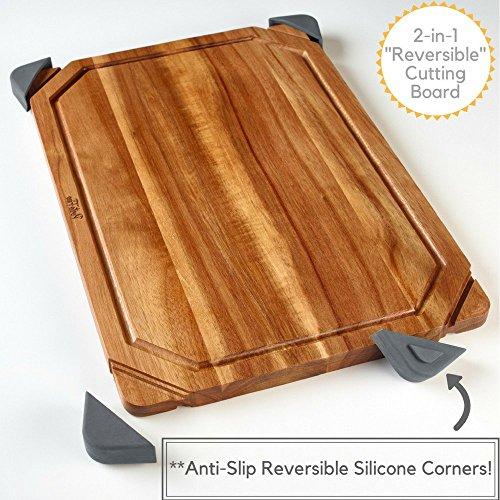PortoFino Acacia Wood Cutting Board / 2-in-1 Reversible Serving Board / Cheese Board / Anti-Slip Non-Marking Silicone Corners / 15.75 L x 10.5 W x 0.75 H (inches) (1 Cutting Board)