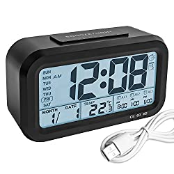 Digital Alarm Clock, YouCoulee Backlight LCD Morning Clock with Thermometer Calendar Large Display Smart Nightlight Soft Light Snooze, Battery Operated with USB Charger Black