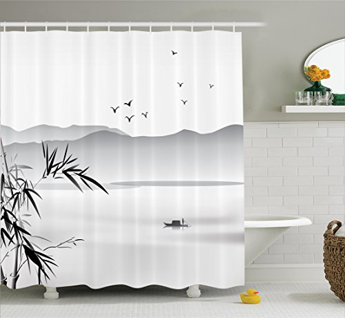 Ambesonne Asian Decor Collection, Silhouette of Horizontal Mountains and the River with Small Vessel Solitude Theme Artwork , Polyester Fabric Bathroom Shower Curtain, 75 Inches Long, Grey Black (River Silhouette)