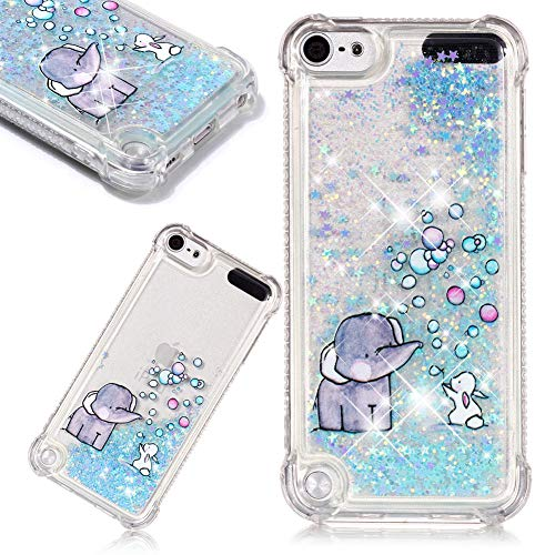 3D Creative Painted Bubble Elephant Pattern Design Luxury Stars Flowing Liquid Quicksand Moving Case for iPod Touch 5/6,SKYXD Brilliant Glitter Floating Transparent Soft TPU Cover for iPod Touch ()
