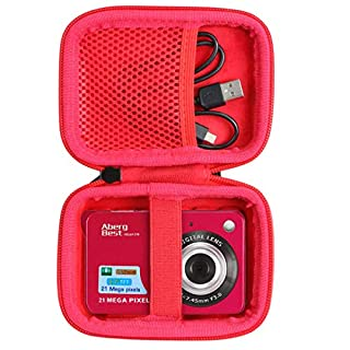 """co2crea Hard Travel Case Replacement for AbergBest 21 Mega Pixels 2.7"""" LCD Rechargeable HD Digital Camera Video Camera Digital Students Cameras (Black Case + Inside Red)"""