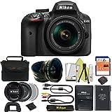 Great Value Bundle for D3400 DSLR – 18-55mm AF-P + 16GB Memory + Wide Angle + Telephoto Lens + Case