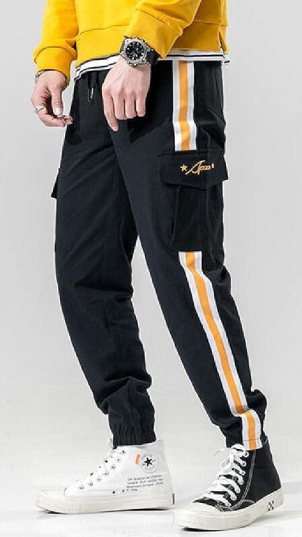 Jofemuho Mens Casual Side Stripe Elastic Waisted Multi-Pockets Jogging Cargo Pants Trousers