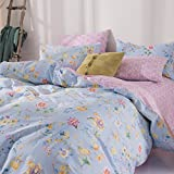 Bed SET Bedding Set Duvet Cover Fitted Sheet Pillow Covers Queen Sheets Set Size 78''x91'' CJF No Comforter Stripe Lattice Garden Flower Fashion Design for Kids (Dance Flower, Blue, Queen 78''x91'')