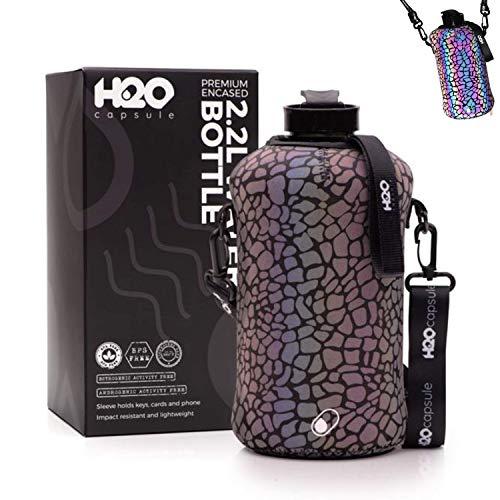 🥇 H2O Capsule 2.2L Half Gallon Water Bottle with Reflective Storage Sleeve – Tritan BPA Free Large Water Bottle/2.2 Liter