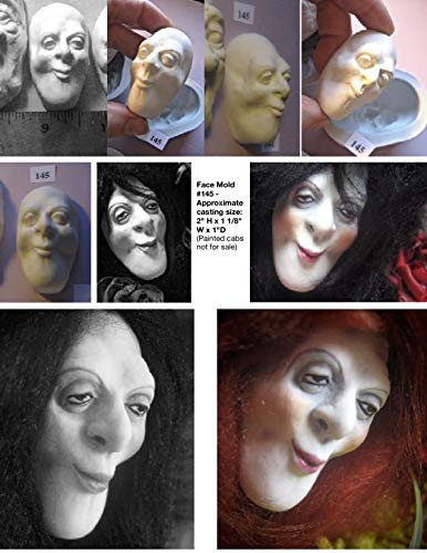 (#00145 - Flexible FG Silicone Press Mold of a Doll Face Cab (witch, sorceress, male or female)