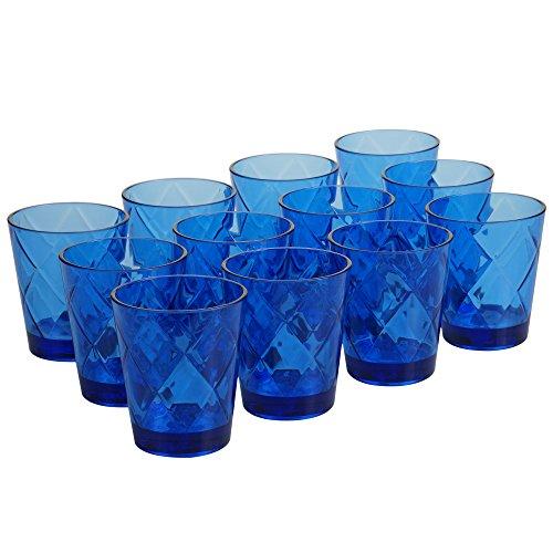 Certified International Cobalt Blue 15 oz Acrylic Double Old Fashion Drinkware (Set of 12), Cobalt Blue ()