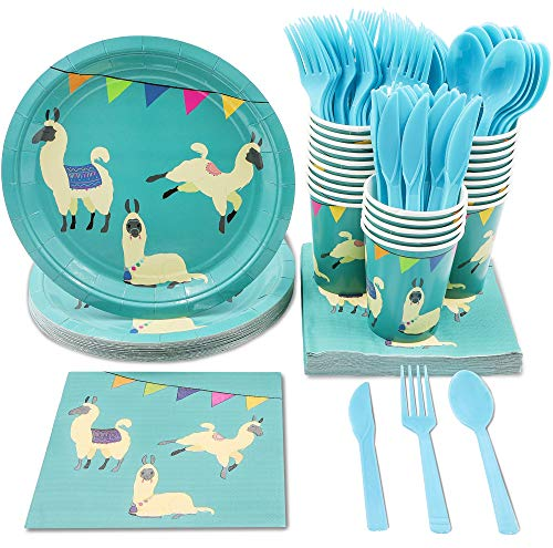 Juvale Llama Party Supplies – Serves 24 – Includes Plates, Knives, Spoons, Forks, Cups and Napkins. Perfect Llama Birthday Party Pack for Kids Llama Animal Themed -