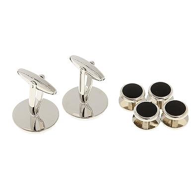 Desconocido Botones de Cuello Mancuernas de Camisa Vestido Formal Traje Negro para Hombres - 1: Amazon.es: Joyería