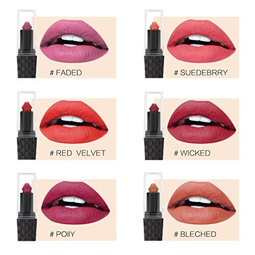 6 Colors/Set Sexy Mushroom Lipstick Waterproof Matte Long Lasting Moisture Lip Gloss Makeup Pen