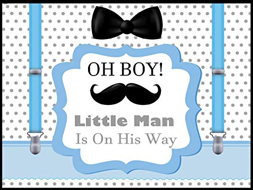 Little man Baby Shower Backdrop, Little men Banner Sizes 36x24, 48x24, 48x36; boy baby shower decorations, Mustache, Bow tie, Bowtie, Oh Boy Baby shower poster, Handmade party supplies, wall Posters ()