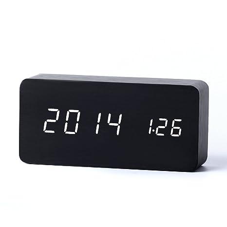 Yihya Negro Diseño de moda Digital Electrónico LED Alarma Snooze Reloj Alarm Clock Temperatura Termómetro Calendario