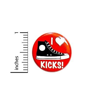 : I Love Kicks Button Shoe Sneaker Collector Pin