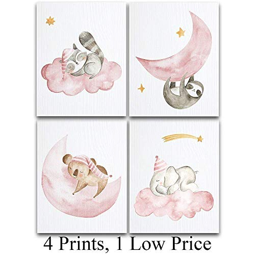 Sleeping Animals Art Prints for Girls  Set of Four Photos 11x14 Unframed  Great Gift for Nursery Decor Under 25