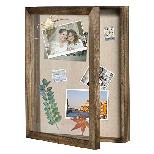 Love-KANKEI Shadow Box Display Case 11x14 Shadowbox Picture Frame with Linen Back Memorabilia Awards Medals Photos