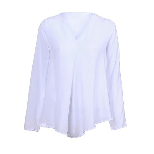 ❤️Camisas Sueltas de Mujer Otoño,Moda Blusas Sólidas Casual Loose V Cuello Tops Manga Larga Absolute: Amazon.es: Ropa y accesorios