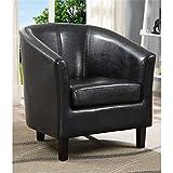 Simpli Home Austin Faux Leather Accent Tub Chair, Black