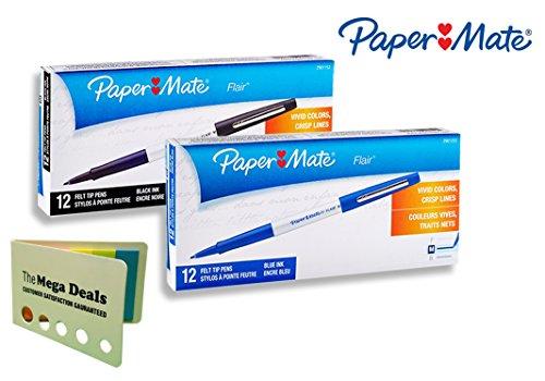 Paper Mate Flair Felt Tip Pens, Medium Point, White Barrel ǀ 1 Dozen Black Ink and 1 Dozen Blue Ink (Total of 24 Pens) ǀ Includes 5 Color Bright Flag Set