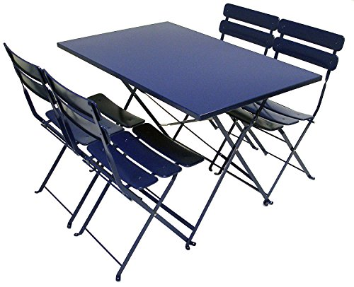 ATC Powder Coated Steel 5 Piece Outdoor Folding Bistro Set with Dining Table and 4 Chairs, Blue