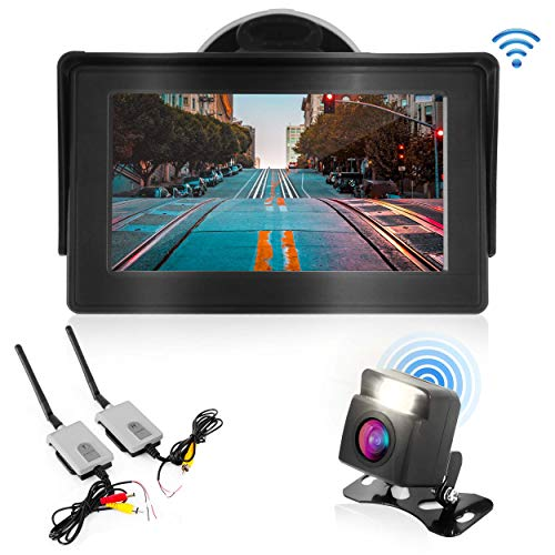"""(Wireless Backup Rear View Camera - Waterproof Car Parking Rearview Reverse Safety/Vehicle Monitor System w/ 4.3"""" Video Color LCD Display Screen, Distance Scale Lines, Night Vision - Pyle PLCM4580WIR)"""