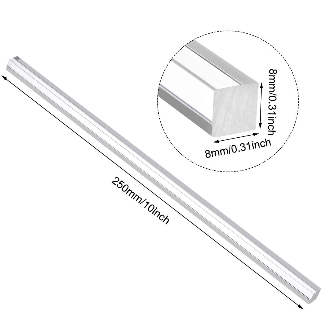 sourcing map 8mmx8mmx250mm Trasparente acrilico solido asta quadra PMMA barra 2pz.