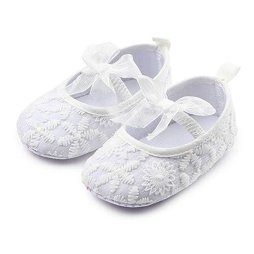 Nagodu Zapatos Casual Formal de Vestir para niña Blancos con moñito de Tela Super Suaves Hermosos Grabados Diferentes Medidas