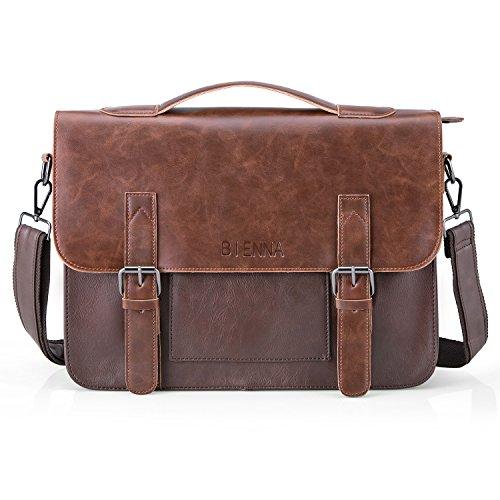 BIENNA Messenger Bag, Vintage Briefcase PU Leather Satchel L