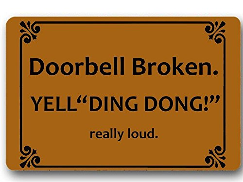 - Mat forIndoor Use, 18x30 inch, Low Profile Door Mat for Front Door Home Entrance outside Doormat Shoes Scraper Mud Trapper Rug Carpet,Doorbell Broken Yell Ding Dong! Really Loud