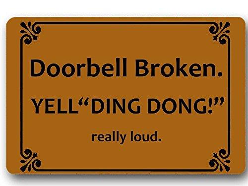- Mat forIndoor Use, 23.6 x15.7inch, Low Profile Door Mat for Front Door Home Entrance outside Doormat Shoes Scraper Mud Trapper Rug Carpet,Doorbell Broken Yell Ding Dong! Really Loud