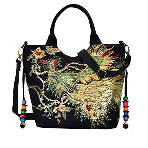 Women Canvas Shoulder Bag Sequins Peacock Embroidery Handbag Stylish Tote Bags Casual Cross-body Bag, Decorative Pendants (BLACK)
