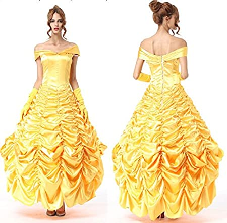 Neuf Femmes Jaune Disney Princesse Elegante Robe Longue Adulte Costume Enterrement Danseuse De Soiree Soiree Taille Unique Amazon Fr Bricolage