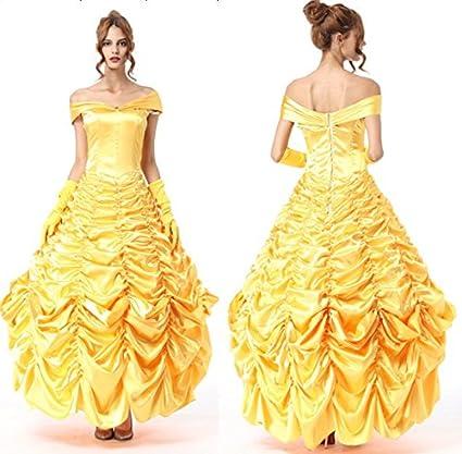 Nuevas señoras amarillo Disney princesa elegante vestido largo disfraz para adultos de disfraces despedida de bailarina